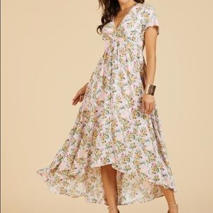 Suzanne Betro Dresses - Suzanne Betro Pink Floral Hi Low Dress Size Large